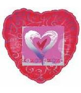 "18"" Classic XOXO Heart Foil Balloon"