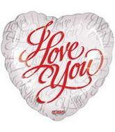"9"" Airfill I Love You Script White Balloon"