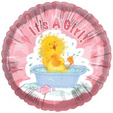 "18"" It&#39s a Girl Baby Duck Bath"