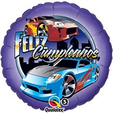 "18"" Feliz Cumpleanos Race Cars Balloon"
