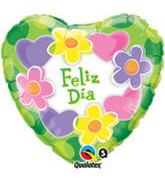 "18"" Feliz Dia Hearts & Flowers Balloon"