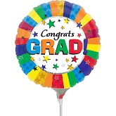 "9"" Aifill Only Congrats Grad Rainbow Balloon"