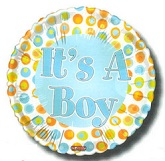 "18"" It&#39s a Boy Dots Border"