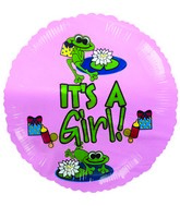 "9"" Airfill Froggy Fun Girl It�s a Girl Balloon"