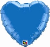 "9"" Sapphire Blue Solid Color Heart Airfill"