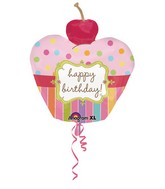 "24"" Cherry on top Birthday Cupcake Shape Foil Balloon"