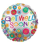 "18"" Get Well Soon Happy Dots Mylar Balloon"