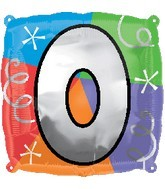 "18"" Designer Square Number ""0"" Letter ""O"" Balloon"