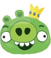"23"" Angry Birds Green King Pig Shape Balloon"