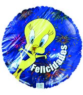"18"" Tweety Bird Felicidades Fireworks Blue Balloon"