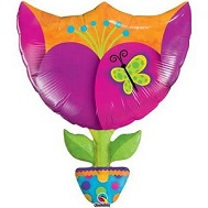"35"" Fantasy Tulip Jumbo Packaged Mylar Balloon"