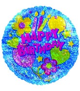 "4"" Airfill Happy Birthday Blue Holographic Balloon"