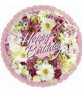 18&#39&#39 Happy Birthday Wreath of Flowers