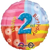 "18"" Happy 2nd Birthday Mylar Balloon"