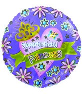 "9""  Airfill Happy Birthday Princess Lavender  Balloon"