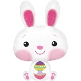 "32"" Bunny With Egg Mylar Balloon"