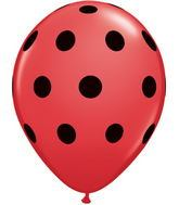 "5"" 100 Count Big Polka Dots Red Balloon Black Dots"