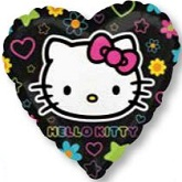 "18"" Hello Kitty Tween Black Heart"