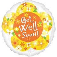 "18"" Get Well Yellow Daisies Mylar Balloon"