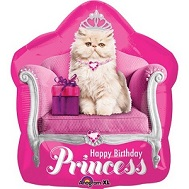 "22"" Kitten Princess Birthday Mylar Balloon"