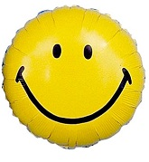 "18"" Smile Face Yellow Mylar Balloon"