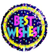 "18"" Best Wishes Confetti Purple Foil Balloon"