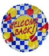"18"" Welcome Back Blue Checkers Foil Balloon"