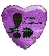 "18"" Happy Engagement Love Script Rose & Glass Pink Balloon"