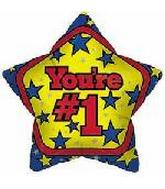 "4"" Airfill You're #1 Star Balloon"