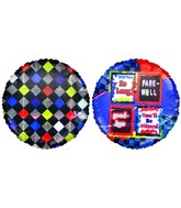 "18"" Good-Bye blue checkered Foil Balloon"