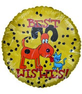 "18"" Best Wishes Dog & Cat Paws Yellow Balloon"