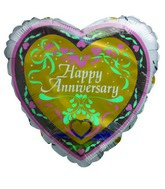 "9""  Airfill Happy Anniversary Golden Heart Balloon"