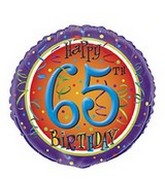 "18"" Happy 65th Birthday Swirl Balloon"