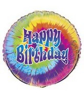 "18"" Tye-Dye Happy Birthday Swirl Balloon"