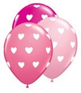 "11"" Big Hearts Assorted Pink Latex Balloons"