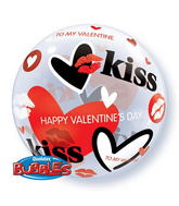 "22"" Valentine Kisses & Hearts Single Bubble"