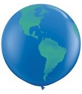 "36"" Globe World Planet Earth Latex Balloon"