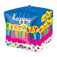 "15"" x 15"" Cubez Birthday Cake with Candles"