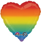 "17"" Rainbow Love Heart Balloon"
