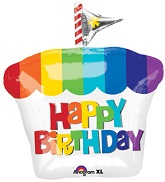 "21"" Happy Birthday Rainbow Cupcake"