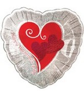 "18"" Valentine&#39s Day Heart Red & Silver"