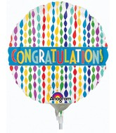 "4"" Airfill Only Congratulations Banner in Streamers Balloon"