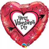 "18""  Happy Valentine&#39s Heart & Arrow Balloon"