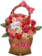 "39"" Valentine&#39s Basket of Roses Jumbo Balloon"