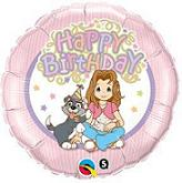 "18"" Precious Girls Club Happy Birthday Mylar Balloon"