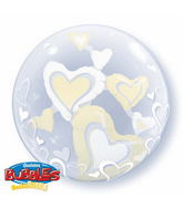 "24"" White & Ivory Floating Hearts Plastic Bubble Balloons"