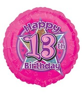 "18"" Happy 13th Birthday Pink Balloon"