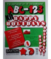 "18"" ABC-123 Kit Red Happy Holidays Foil Balloon"