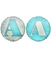 "18"" Letter A Pale Blue & White Round Mylar Balloon"