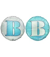 "18"" Letter B Pale Blue & White Round Mylar Balloon"